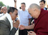 Meghalaya IPR Minister, Mr. A.L. Hek receiving His Holiness, The Dalai Lama at ALG Helipad