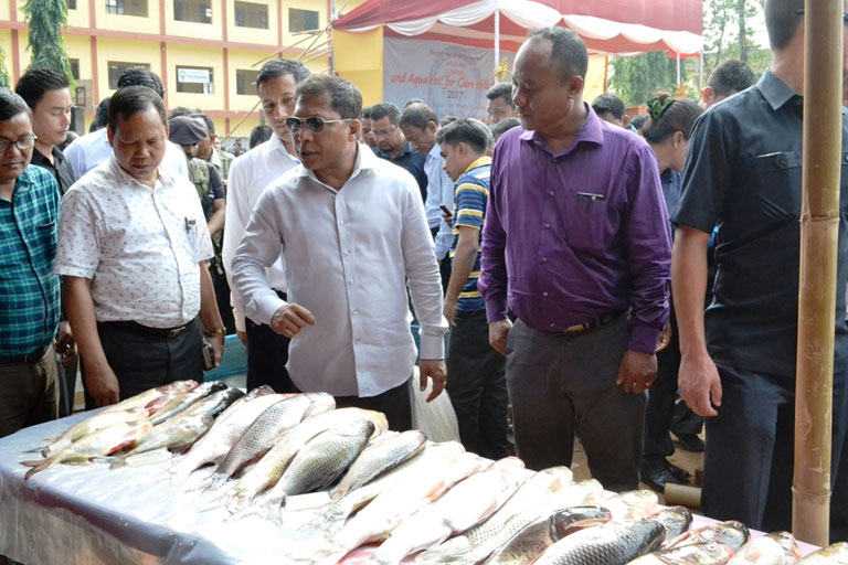Chief Minister Dr Mukul Sangma visits stalls during the Aquafest 2017 for Garo Hills region at Tura