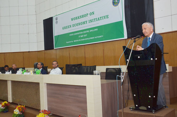Chief Secretary, Shri KS Kropha addressing the gathering during the inaugural session of the Workshop on green economy initiatives