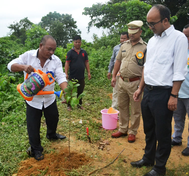 Govt. Chief Whip Shri.W. D Sangma plants tree saplings at Ampati circuit house premises as part of World Environment Day celebration on 5th June 2017
