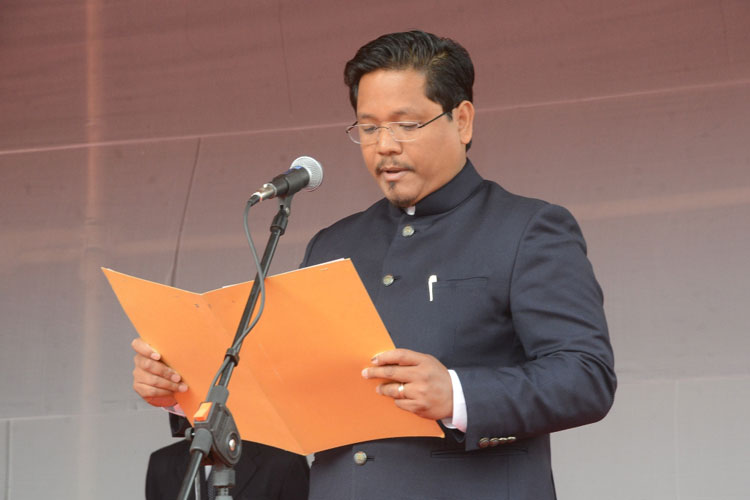 Shri. Conrad Sangma being sworn -in as the Chief Minister of Meghalaya on 06-03-2018