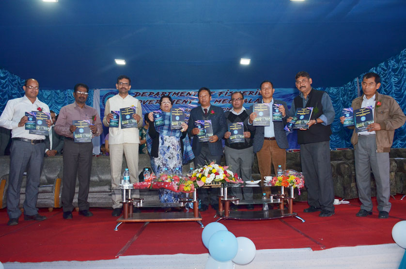 Smti R. Warjri alongwith government officials releasing the Training Manual during the Aqua Fest