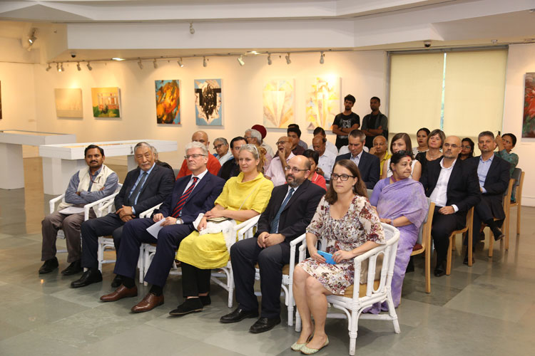 "Participants on the opening day of the International Art Exhibition ""Abode of Clouds"" held at India International Centre, New Delhi on 08-06-2018"