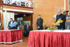 Chief Justice of Meghalaya High Court, Smti. Meena Kumari administering the oath of office to the new Meghalaya Governor, Dr. K K Paul