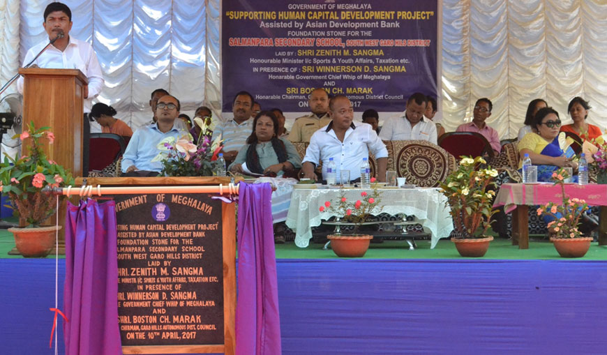 Shri. Zenith Sangma addresses the gathering during the base laying ceremony of Salmanpara Sec School
