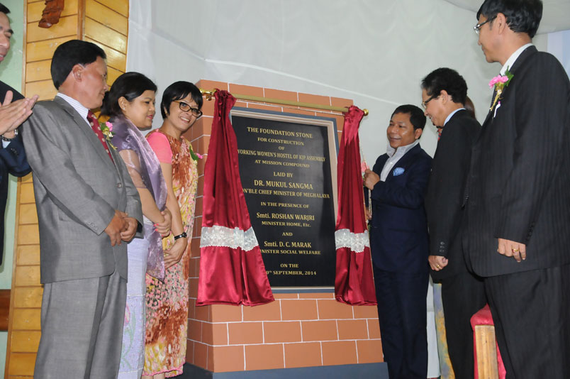 Meghalaya CM Dr Mukul Sangma unveiling the plague for construction of KJP Working Women Hostel at Jaiaw
