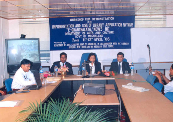Smti. Deborah C. Marak, Meghalaya Minister, Arts & Cuture inaugurating a 3-day workshop-cum-demonstration on Implementation and use of Library Application software (e-Granthalaya/NewsNIC) at the Conference Hall of NIC
