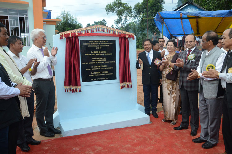 Foundation Stone for 50 Bedded Maternity and Child Hospital laid at Umsning 11-10-2017