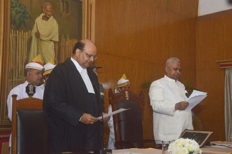 Justice Mohammad Rafiq being sworn in as the Chief Justice of the High Court of Meghalaya at Raj Bhavan, Shillong on 13th November, 2019