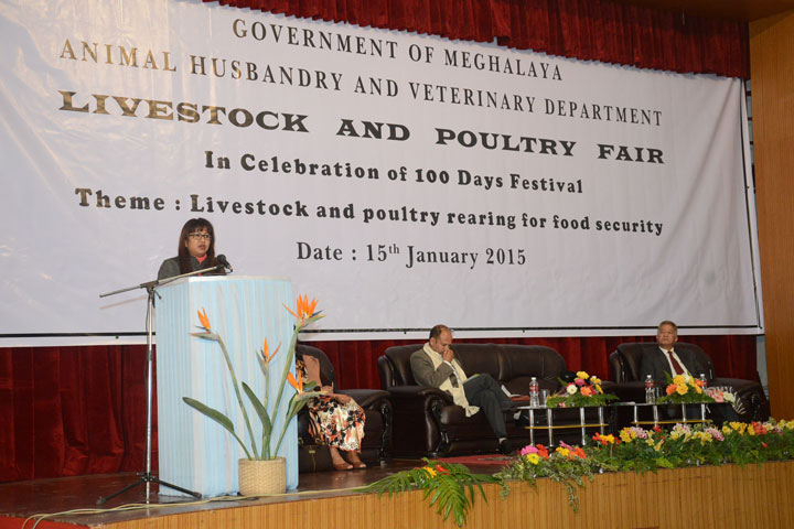 Meghalaya Minister for AH and Veterinary Department, Mrs. Deborah C. Marak speaking as Chief Guest at the Livestock and Poultry Fair