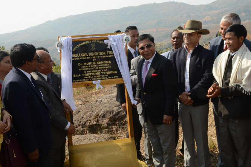 Chief Minister Dr.Mukul Sangma inaugurating the Pynursla Civil Sub-Division