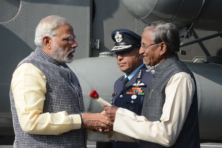 Meghalaya Governor, Shri Ganga Prasad receiving the Prime Minister of India, Shri Narendra Modi on his arrival at ALG, Upper Shillong on 16-12-2017