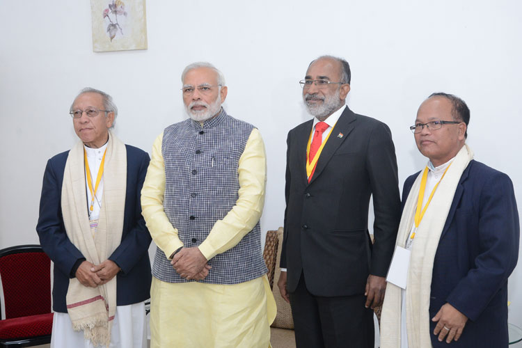 Prime Minister of India, Shri Narendra Modi meeting the Catholic Church leaders at ALG, Upper Shillong during his visit to Shillong on 16-12-2017