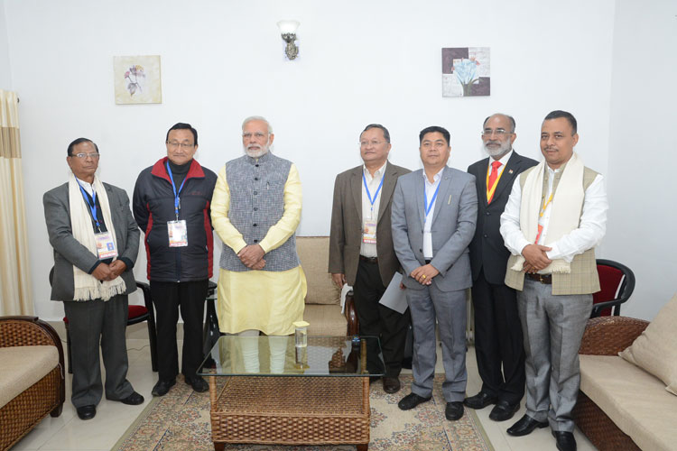 Prime Minister of India, Shri Narendra Modi meeting the KJP Church leaders at ALG, Upper Shillong during his visit to Shillong on 16-12-2017