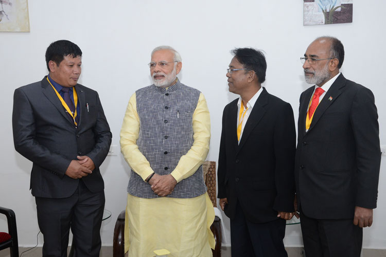 Prime Minister of India, Shri Narendra Modi meeting the Garo Baptist Church leaders at ALG, Upper Shillong during his visit to Shillong on 16-12-2017