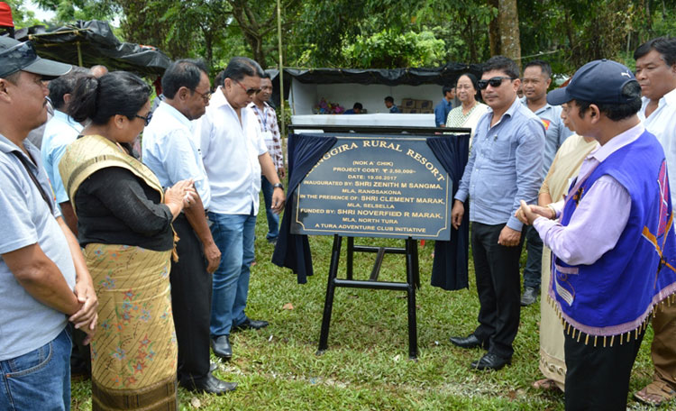 Shri.Zenith Sangma, Minister for Sports & Youth Affairs along with other dignitaries unveiling the plaque for Ranggira Rural Resort at Kemregre, Babadam on 19-08-2017