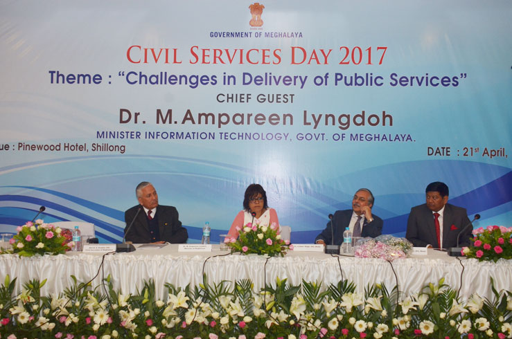 Meghalaya Minister in charge, IT, IPR etc Dr. M.Ampareen Lyngdoh and senior officials during the Civil Services Day Celebration