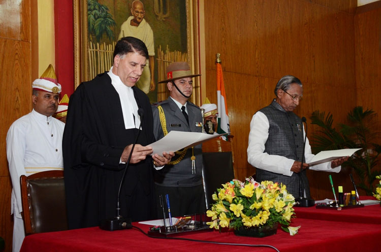 Hon'ble Mr. Justice Mohammad Yaqoob Mir, being sworn in as the Chief Justice of the High Court of Meghalaya at Raj Bhavan