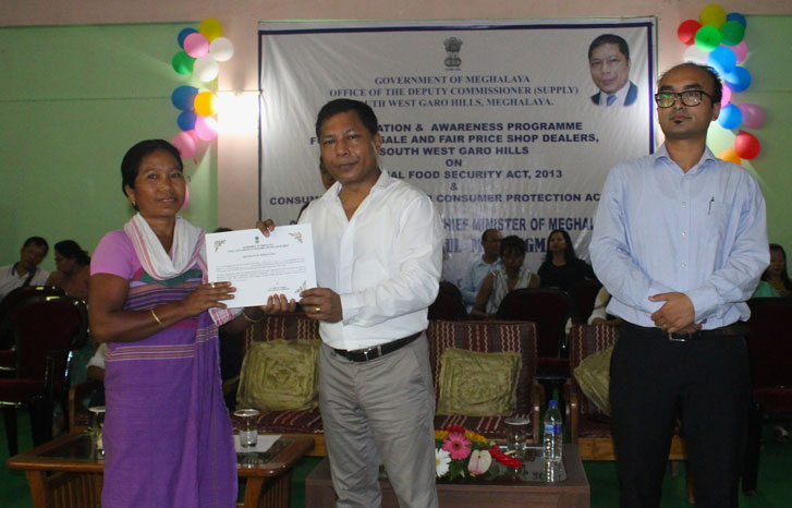 CM Dr. Mukul Sangma during a felicitation programme for wholesellers and FPS dealers at Ampati on 21-06-2017