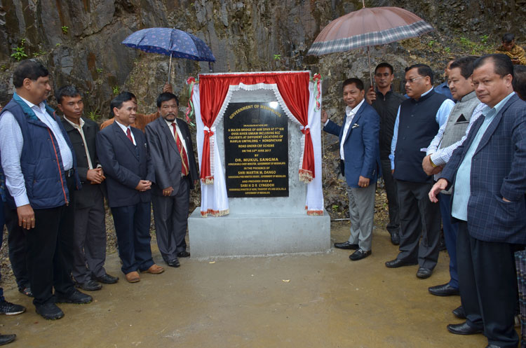 CM inaugurates bridge over Umiam river, School building at Nongpathaw on 22nd June 2017