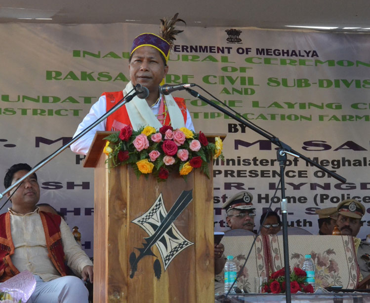 CM Dr Mukul Sangma addresses the gathering during the inauguration of Raksamgre Civil Sub Division