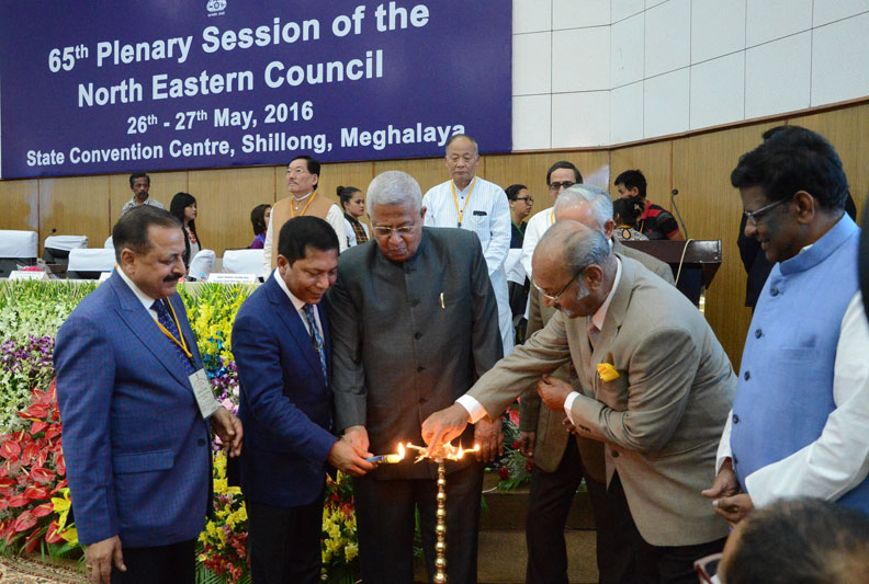 Lighting of inaugural lamp on the first day of 65th NEC Plenary Session at the State Convention Centre in the city