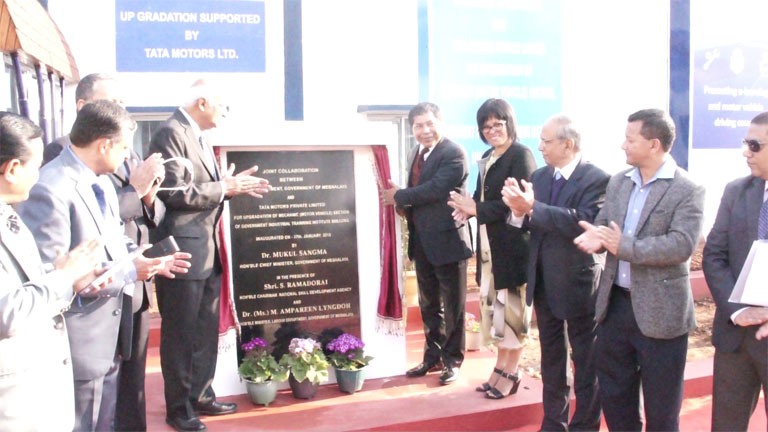 Meghalaya CM Dr. Mukul Sangma inaugurating the State of the Art Mechanic (Motor Vehicle) Section of Govt. ITI, Shillong