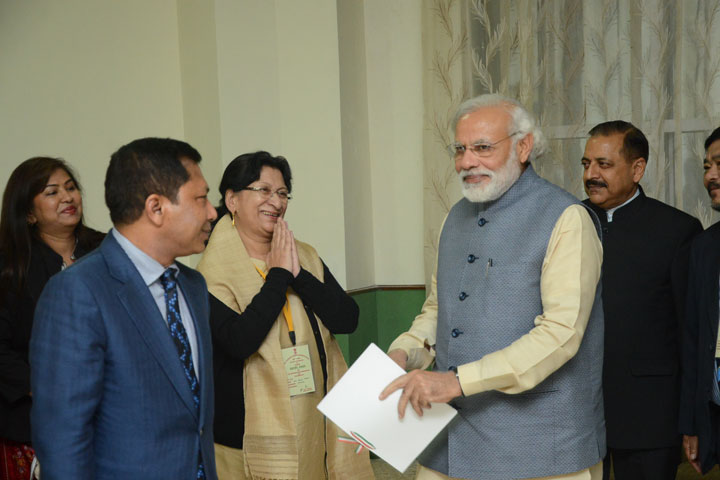 Meghalaya Chief Minister submitting a Memorandum to Prime Minister Narendra Modi