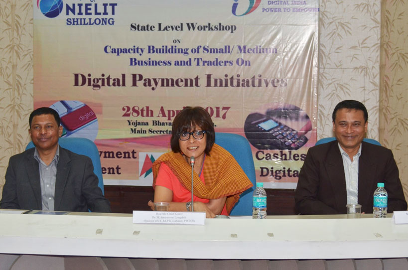 IT Minister, Dr. M A Lyngdoh addressing the digital payment initiatives workshop at Yojana Bhavan, Shillong