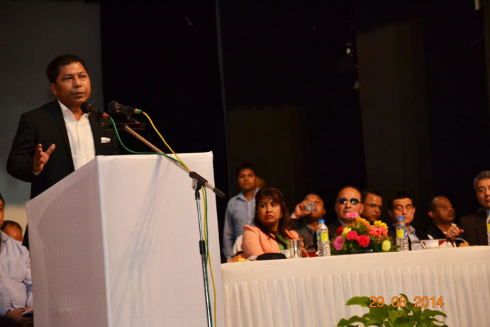 Meghalaya Chief Minister Dr. Mukul Sangma while addressing the gathering on NGT Coal ban at U So So Tham Auditorium