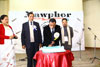 Meghalaya IPR, Minister Mr. A L Hek cutting the cake to mark the year long celebration of Mawphor at Dinam Hall