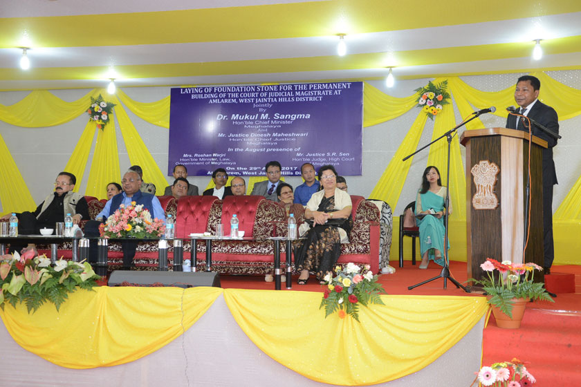 Chief Minister Dr.Mukul Sangma speaking on the occasion of the Foundation Stone laying ceremony for permanent building of Court of Judicial Magistrate at Amlarem