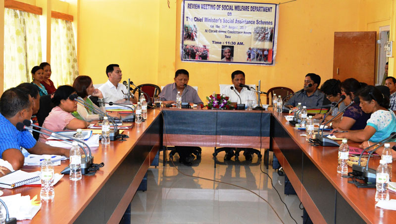 CM Dr. Mukul Sangma addresses Social Welfare Department officials during the review meeting on Chief Minister's Social Assistance schemes at Tura circuit house on 30-08-2017