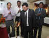 Meghalaya PWD (R) Minister Mr. H. D. R. Lyngdoh lighting the lamp to mark the inauguration of CTPCM&QCA for contractors and young engineers