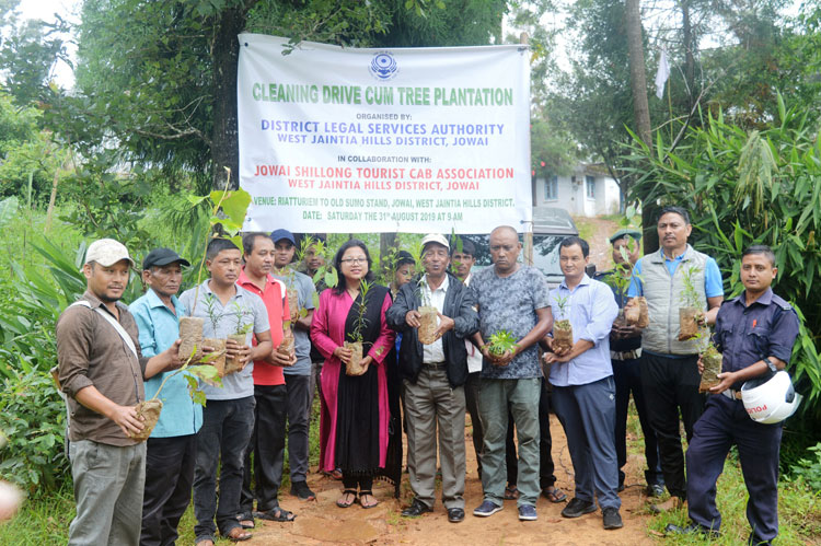 Cleaning drive and Tree plantation by DLSA and Jowai-Shillong Tourist Cab Association 31-08-2019